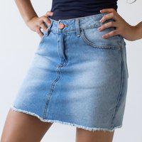 Saia Feminina Jeans Barra Desfiada Cintura Alta Anticorpus