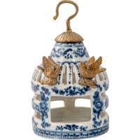 Enfeite De Gaiola De Porcelana E Bronze - Blue White