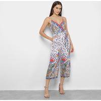 Macacão Lily Fashion Estampado Pantacour Amarração Feminino - Feminino-Branco+Azul