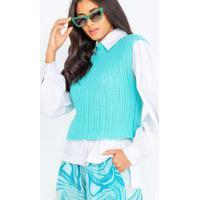 Blusa Cropped De Tricot Azul Azul