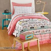Edredom Hello Kitty® Queen Size- Rosa Claro & Brancoartex