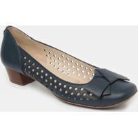 Sapato Tradicional Em Couro Com Vazados - Azul Marinho