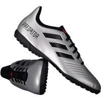 Chuteira Adidas Predator 19.4 Tf Society Prata