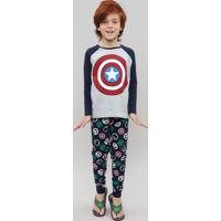 Pijama Infantil Capitão América Os Vingadores Manga Longa Cinza Mescla