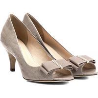Peep Toe Couro Shoestock Laço - Feminino