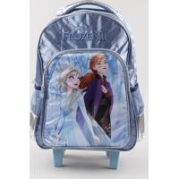 Mochila Escolar Infantil Com Rodinhas Frozen Azul