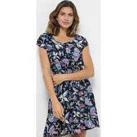 Vestido Pérola Evasê Curto Tropical Floral - Feminino-Marinho+Azul