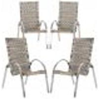 Cadeiras 4Un Para Area Varanda Fibra Sintetica Sala Cozinha Jardim Sacada Garden - Capuccino