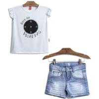 Conjunto 2 Peças - Blusa Hora Brincar + Shorts Jeans Feminino - Feminino-Branco