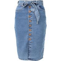 Saia Jeans Malwee Midi Botões Azul