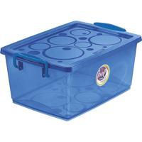 Caixa Organizadora Com Trava- Azul- 12X26X19Cm- Ordene