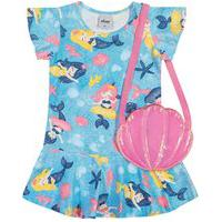 Vestido C/ Bolsa Infantil Menina Sereias Azul - Elian