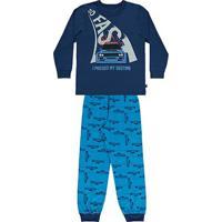 Pijama Bebê Longo Boca Grande Estampa Carro Masculino - Masculino-Marinho