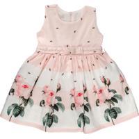 Vestido Infantil Barrados Botão De Rosa - Anjos Baby Chic