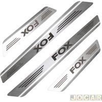 Aplique Da Soleira - Mult - Fox 2006 Até 2015 4 Portas - Aço Inox Escovado Auto Colante - Jogo - 11000
