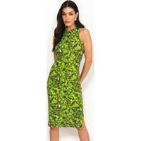 Vestido Midi Canelado Estampado Verde