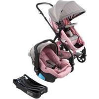 Carrinho De Bebê Com Bebê Conforto Cosco - Travel System Poppy Trio 0 A 15Kg - Unissex-Rosa