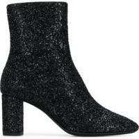 Saint Laurent Ankle Boot 'Glitter Sprinkled' De Couro - Preto