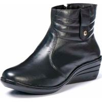 Bota Bico Fino Cano Curto Anabela Em Couro Trivalle Shoes Preto