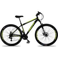 Bicicleta Aro 29 Quadro 19 Aço 21 Marchas Suspensão Freio A Disco Mecânico Preto/Amarelo - Dropp