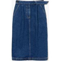 Saia Jeans Lacoste Algodão Feminina - Feminino-Azul