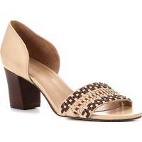 Peep Toe Shoestock Salto Médio Handmade - Feminino-Caramelo