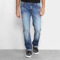 Calça Jeans Slim Forum Paul Estonada Puídos Masculina - Masculino-Jeans