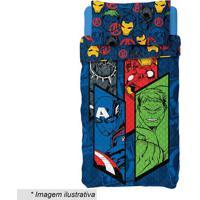 Jogo De Colcha Dupla Face Avengers® Solteiro- Azul Escurlepper