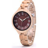 Relógio Madeira Dododeer-A14 Vermelho - Feminino