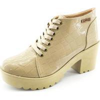 Bota Quality Shoes Croco Verniz Feminina - Feminino-Bege