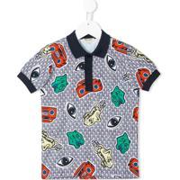 Kenzo Kids Camisa Polo Com Estampa - Azul