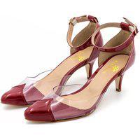 Sapato Feminino Scarpin Salto Baixo Em Verniz Vermelho Com Transparência