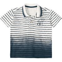 Camisa Polo Tigor® Listrada- Off White & Pretalilica Ripilica E Tigor T. Tigre