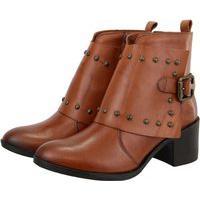 Bota Retta Shoes Cano Curto Com Manta Detalhes Em Tachas Couro Rusty