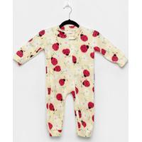 Macacão Bebê Candy Kids Pijama Soft Zíper - Feminino-Off White