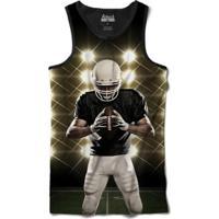 Camiseta Attack Life Regata Futebol Americano Defensor Sublimada Masculina - Masculino-Preto