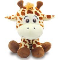 Bicho De Pelúcia Safári 20Cm - Girafa - Unik Toys Marrom - Kanui