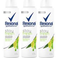 Kit Desodorante Antitranspirante Rexona Bamboo & Aloe Vera Feminino Aerosol 150Ml Com 3 Unidades - Feminino-Incolor