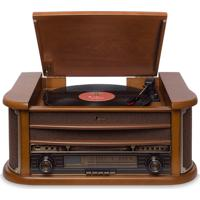 Vitrola Raveo Ópera Com Bluetooth, Toca Discos Cd Player, Rádio E Entrada Usb Madeira