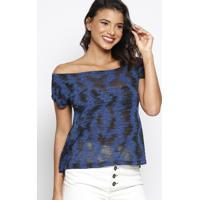 Blusa Em Botonê Com Rebites - Azul Escuro & Preta - Thipton