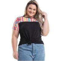 Blusa Miss Masy Plus Size Viscolycra - Feminino-Preto