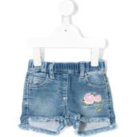 Monnalisa Shorts Jeans Com Detalhe Bordado - Azul