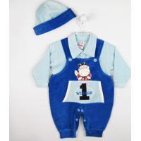 Jardineira L.Baby Longa Plush Boné - Masculino-Azul