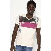 Camiseta Floral- Bege & Rosa Escuro- Calvin Kleincalvin Klein