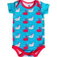 Body Manga Curta Isabb Boias Flamingo E Unicórnio Azul