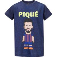 Camiseta Barcelona Piqué - Infantil - Azul Escuro