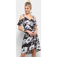 Vestido Heli Evasê Curto Floral Babados Transpassado - Feminino-Preto