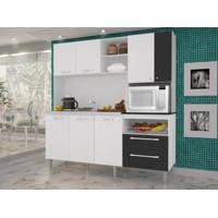 Cozinha Compacta Jade Sem Tampo Linho Branco/Preto - Kits Paraná