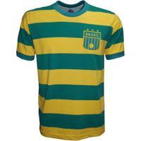 Camisa Liga Retrô Brasil Listrada Masculina - Masculino-Verde+Amarelo