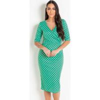 Vestido Poá Verde Tubinho Moda Evangélica
